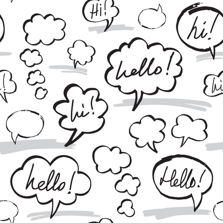 hi: Hello and Hi Speech Bubbles Seamless Pattern