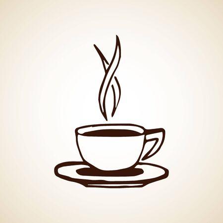 Taza de café dibujada a mano. Ilustración de vector eps8.