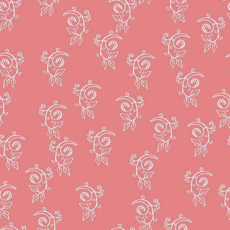 sprig: Floral seamless pattern. Sketchy hand drawn branches randomly placed on pink background. Can be used for textile, wallpapers, wrapping design. Easy changeable colors. EPS8 vector illustration.