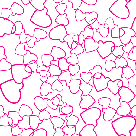 Two hearts seamless pattern. Pink pairs of heart symbols randomly placed on white background. Love wrapping texture for Valentine day gift or greeting card design. Vector eps8 illustration.