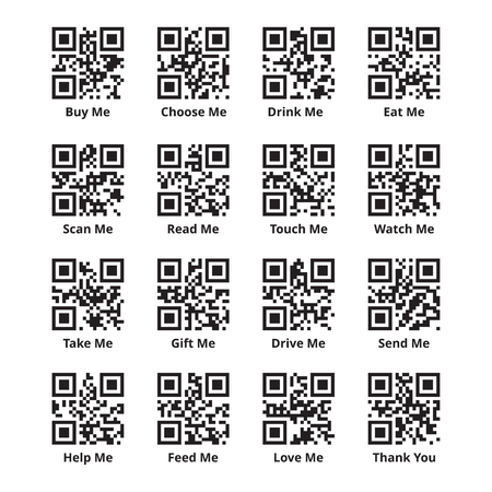 stimulating: QR code set for stimulating sales of goods. Quick response codes with encoded promotional phrases as buy, scan, read, eat, take, touch, help, love me and thank you. Ready to scan. Vector illustration.