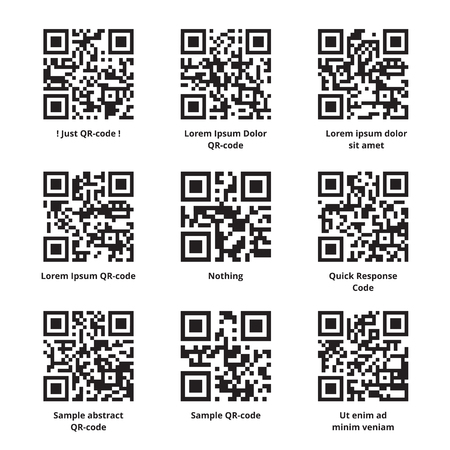 response: Sample Lorem Ipsum QR code set. Quick response codes with meaningless filler texts encoded in it. Ready to scan. Vector eps8 illustration. Illustration