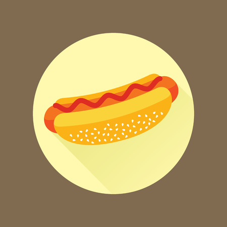 mayonnaise: Hotdog with ketchup. Isolated flat icon in a circle. Fast food symbol for poster, menus, brochure and web.
