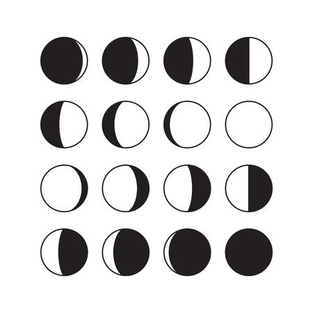 Ikony fazy księżyca. Astronomiczne fazy księżycowe. Cały cykl od nowego księżyca do księżyca w pełni. Znaki półksiężycowe i gibbous. Wektor eps8 ilustracji.