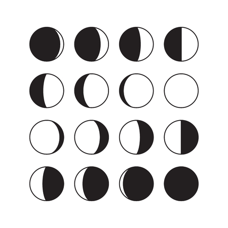 Moon phases icons. Astronomy lunar phases. Whole cycle from new moon to full moon. Crescent and gibbous signs. Vector eps8 illustration. Illustration