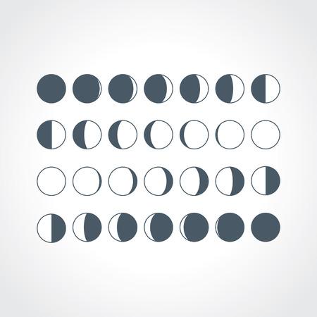 Maanfases iconen. Astronomie maanfasen. Hele cyclus van nieuwe maan naar volle maan. Halve maan en gibbous tekens. Vector eps8 illustratie. Stock Illustratie