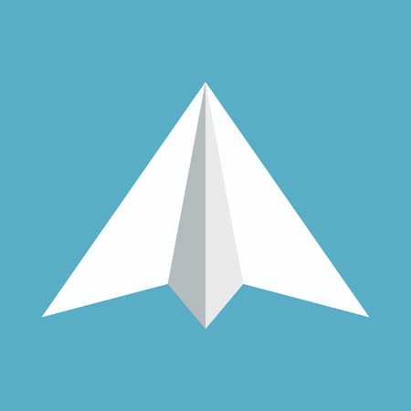 Paper plane icon isolated on blue background. Symbol of a papercraft origami airplane in flat style. Illustration