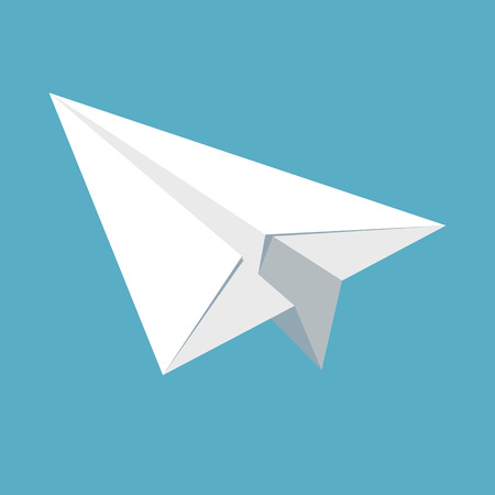 navigational light: Paper plane icon isolated on blue background. Symbol of a papercraft origami airplane in flat style