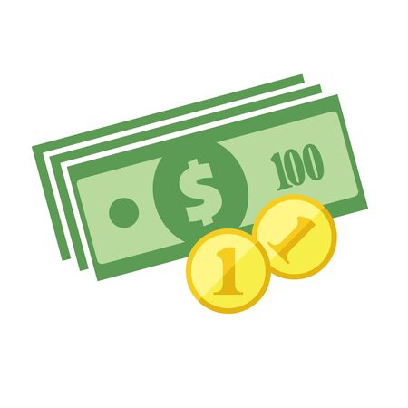 US dollar banknotes stack and heap of golden coins. Flat vector icon. American currency symbol. USA bucks pictogram. Greenback and stylized eps8 illustration. 向量圖像
