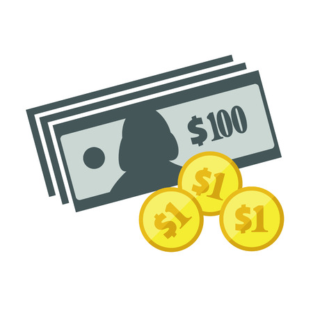 one us dollar coin: US dollar banknotes stack and heap of golden coins. Flat vector icon. American currency symbol. USA bucks pictogram. Greenback and stylized eps8 illustration. Illustration