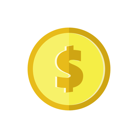 one us dollar coin: US dollar golden coin. Flat icon. American currency symbol. Stylized eps8 vector illustration.