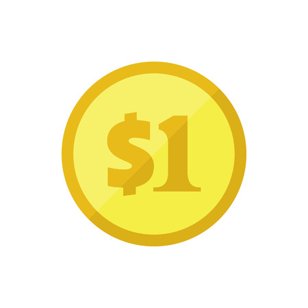 one us dollar coin: US dollar golden coin. Flat vector icon. American currency symbol. Stylized eps8 illustration. Illustration
