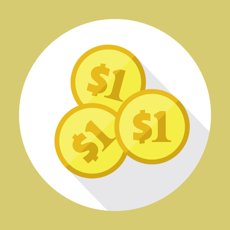 one us dollar coin: Three US dollar golden coins. Flat vector icon. American currency symbol. Stylized eps8 illustration.