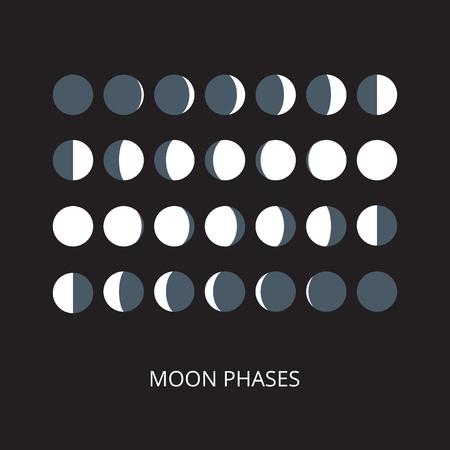 Maanfases iconen. Astronomie maanfasen. Hele cyclus van nieuwe maan naar volle maan. Halve maan en gibbous tekens. Vector eps8 illustratie.