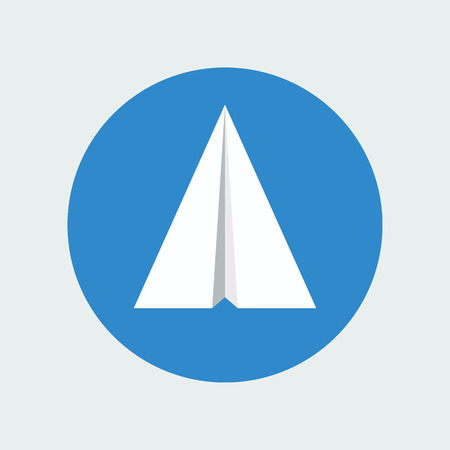 Paper plane icon isolated inside sky blue circle background. Symbol of a white papercraft origami airplane in flat style. Mail or message application sign. Vector illustration eps8.