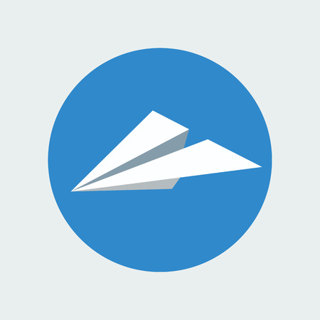 papercraft: Paper plane icon isolated inside sky blue circle background. Symbol of a white papercraft origami airplane in flat style. Mail or message application sign. Vector illustration eps8.