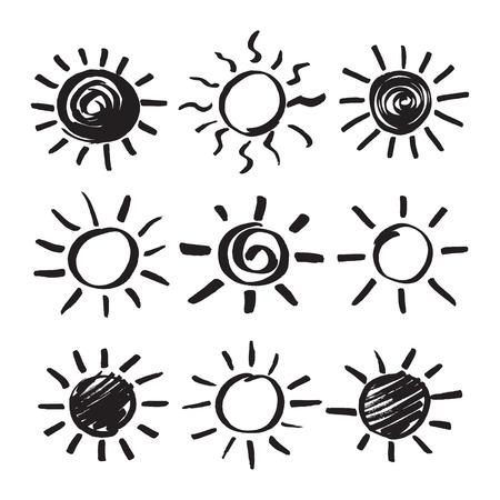 Set Of Vector Sun Symbols Hand Drawn By Black Marker Felt Pen