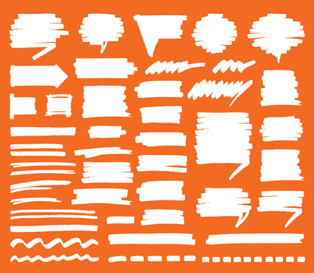 Set of isolated stripes, strokes, shaded speech bubbles and lines. Hand drawn by felt pen vector symbols in eps8. Illustration
