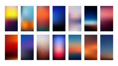 Set of gradient mesh backgrounds in blurry bright colors inspired by nature sunsets. Abstract colorful smooth templates with out of focus effect in vertical layout. Vector in EPS8 without transparency