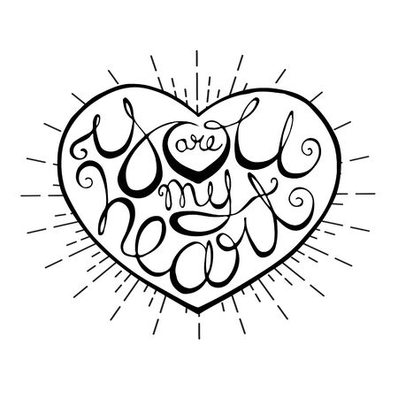 Handwriting lettering inside heart shape with radial rays. Design element for Valentines Day greeting card or banner. Calligraphy writing for romantic design. Scalable vector illustration in EPS8.