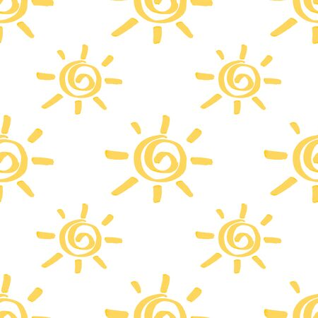 Seamless pattern with sun hand drawn by marker. Sunny repeating texture in yellow colors. Original background for prints, textile, wallpapers and wrapping design. Vettoriali