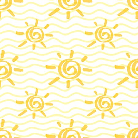 Seamless pattern with sun hand drawn by marker. Sunshine repeating texture in yellow colors. Original background for prints, textile, wallpapers and wrapping design. Archivio Fotografico - 141091954