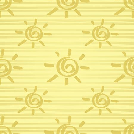 Seamless pattern with gold painted sun hand drawn by marker. Sunshine repeating texture in golden colors. Background for prints, textile, wallpapers and wrapping design