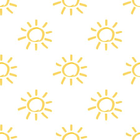 Seamless pattern with sun hand drawn by marker. Sunny repeating texture in yellow colors. Archivio Fotografico - 141091945