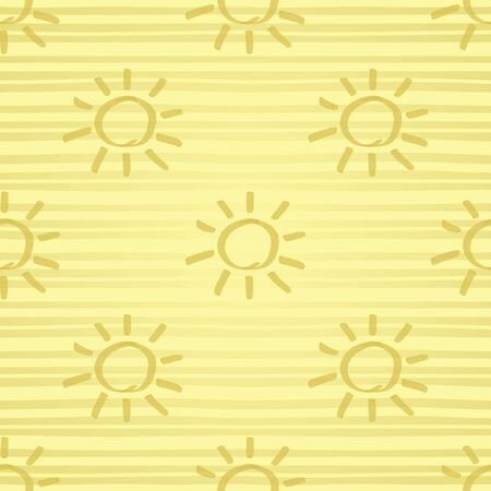 Seamless pattern with gold painted sun hand drawn by marker. Sunshine repeating texture in golden colors. Background for prints, textile, wallpapers and wrapping design.