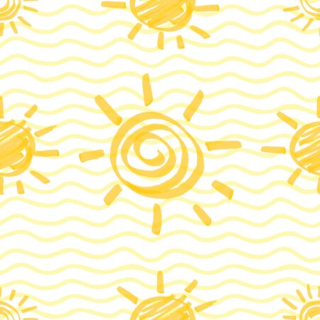 Seamless pattern with sun hand drawn by marker. Sunshine repeating texture in yellow colors. Original background for prints, textile, wallpapers and wrapping design.