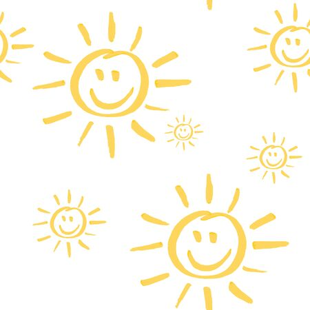 Seamless pattern with smiling sun hand drawn by marker. Sunny repeating texture in yellow colors. Child cartoon background for prints, textile, wallpapers and wrapping.