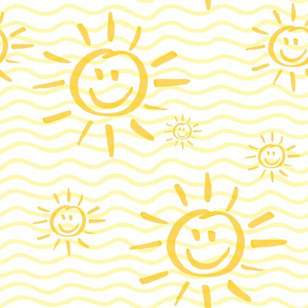 Seamless pattern with smiling sun hand drawn by marker. Sunshine repeating texture in yellow colors. Child cartoon background for prints, textile, wallpapers and wrapping. Archivio Fotografico - 141091943