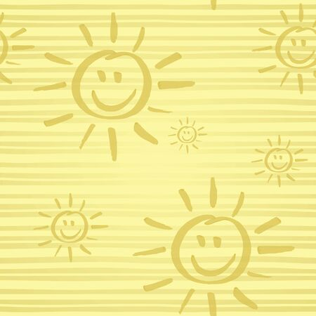 Seamless pattern with smiling sun hand drawn by marker. Sunshine repeating texture in golden colors. Child cartoon background for prints, textile, wallpapers and wrapping. Vettoriali