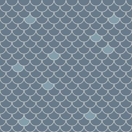 Modello senza cuciture di squame di pesce. Ripetendo lo sfondo geometrico nei toni del blu. Illustrazione vettoriale geometrico stilizzato EPS8. Vettoriali