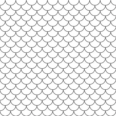 Fish scales seamless pattern. Repeating geometric background in black and white colors. Vettoriali