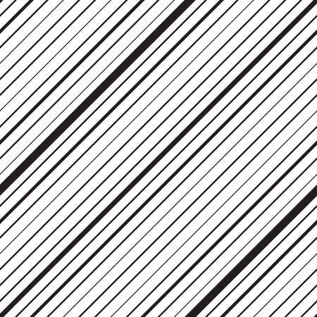 Diagonal striped seamless pattern. Repeating texture with black parallel straight lines on white background.