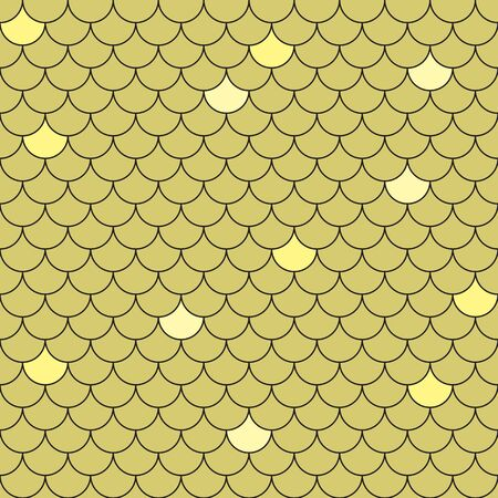 Fish scales seamless pattern. Repeating geometric background in golden tones.