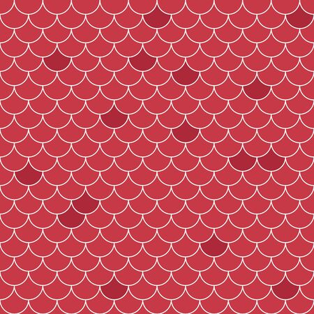 Fish scales seamless pattern. Repeating geometric background in red tones.