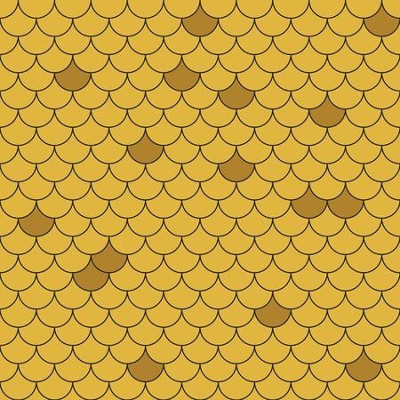 Fish scales seamless pattern. Repeating geometric background in gold colors. Vettoriali