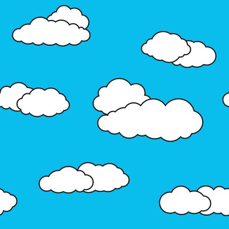 Seamless pattern with sky clouds. Vivid blue background with white cloudlets.