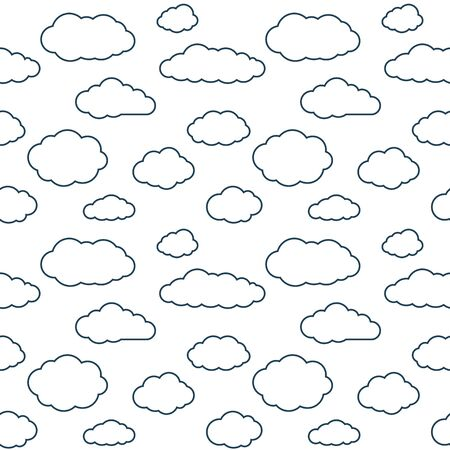 Clouds seamless pattern. White continuous background with outline sky cloudlets.
