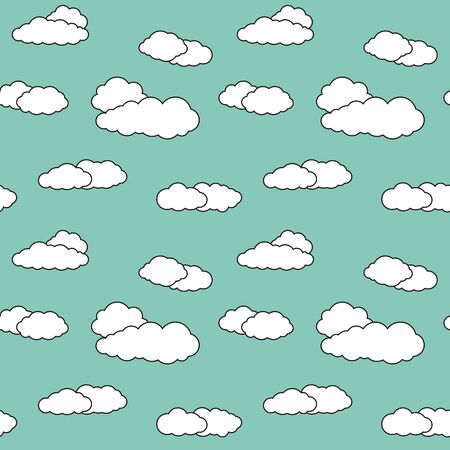 Seamless pattern with sky clouds. Vivid greenish background with white cloudlets. Archivio Fotografico - 141092079