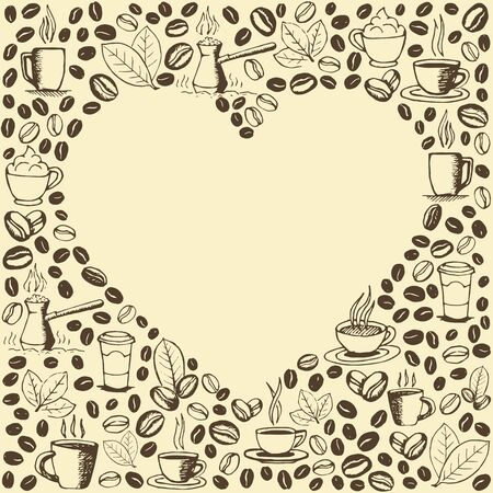 Coffee icons background with blank heart shape inside. Hand drawn sketchy doodles pattern. Vector eps8 illustration. Vettoriali
