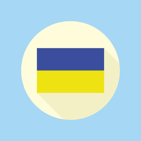 The National Flag of Ukraine. Flat icon in the circle. Vector illustration in EPS8 format. Banque d'images - 139447894
