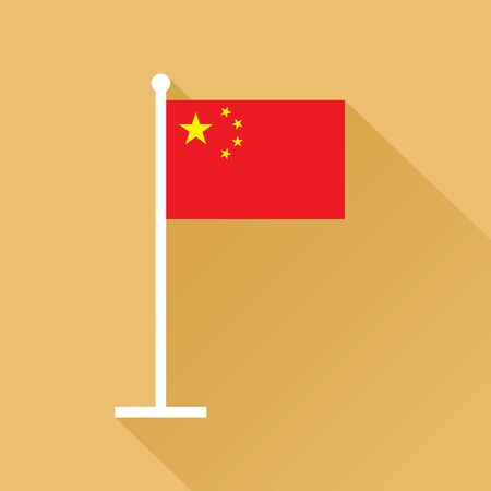 Flag of the Republic of China on flagpole. The red banner charged in the canton with five golden stars.
