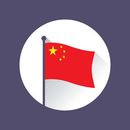 Flag of the Republic of China on flagpole. Waving red banner charged in the canton with five golden stars. Circle icon. Vettoriali