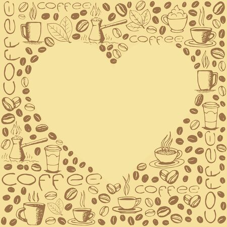 Coffee icons background with blank heart shape inside. Hand drawn sketchy doodles pattern. Archivio Fotografico - 141092074