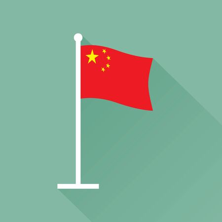 Flag of the  Republic of China on flagpole. Waving red banner charged in the canton with five golden stars.
