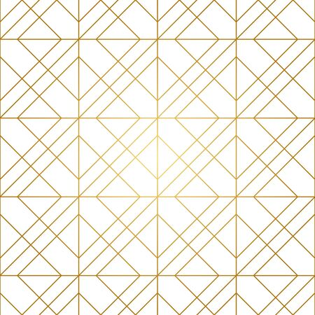 Seamless geometric pattern. Golden lines on white background. Texture with rhombus and nodes. Vettoriali