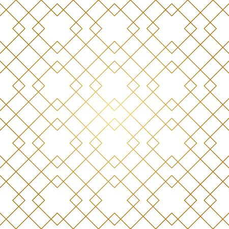 Seamless geometric pattern. Golden lines on white background. Texture with rhombus and nodes. Archivio Fotografico - 141092085